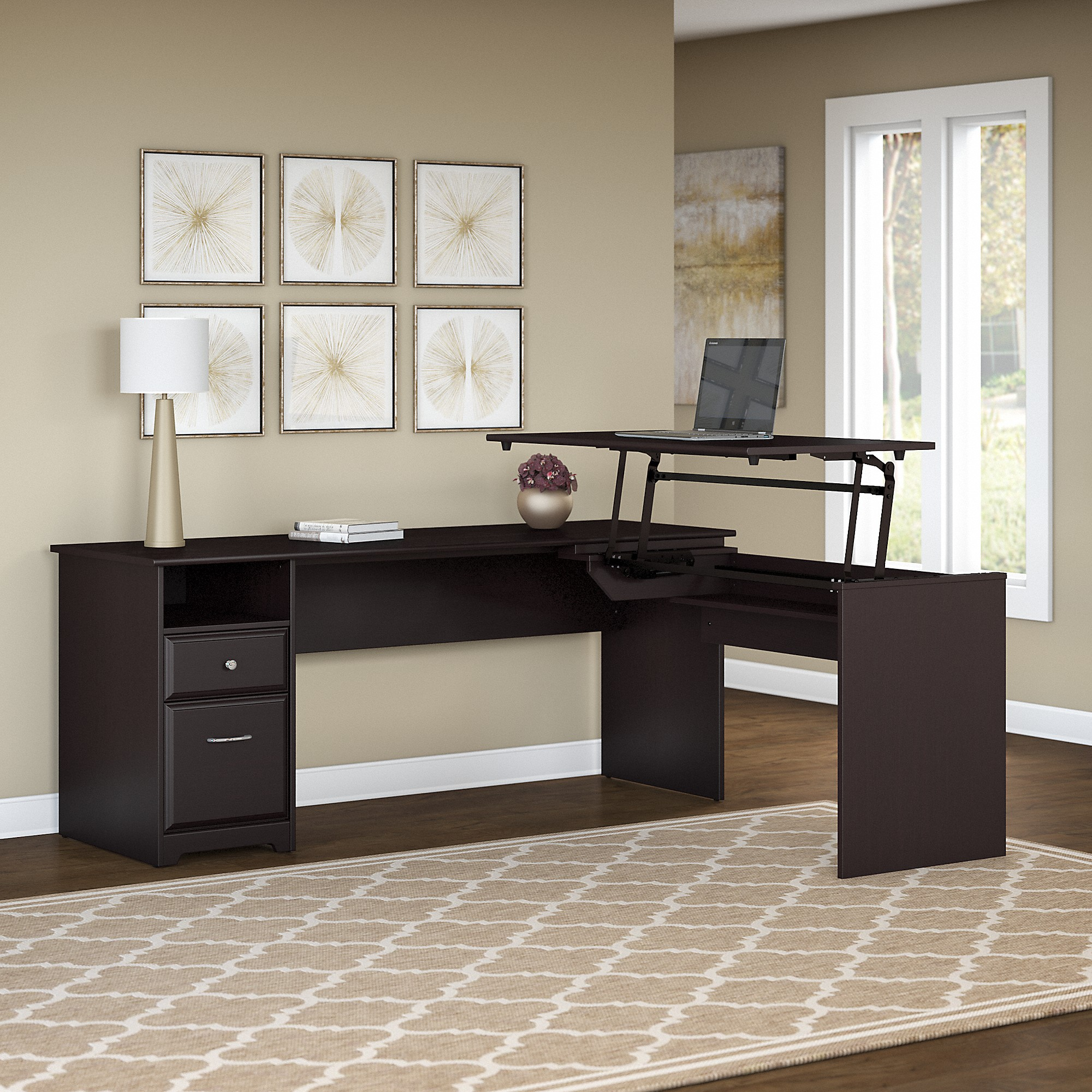 Bush Furniture Cabot 72W 3 Position L Shaped Sit to Stand Desk