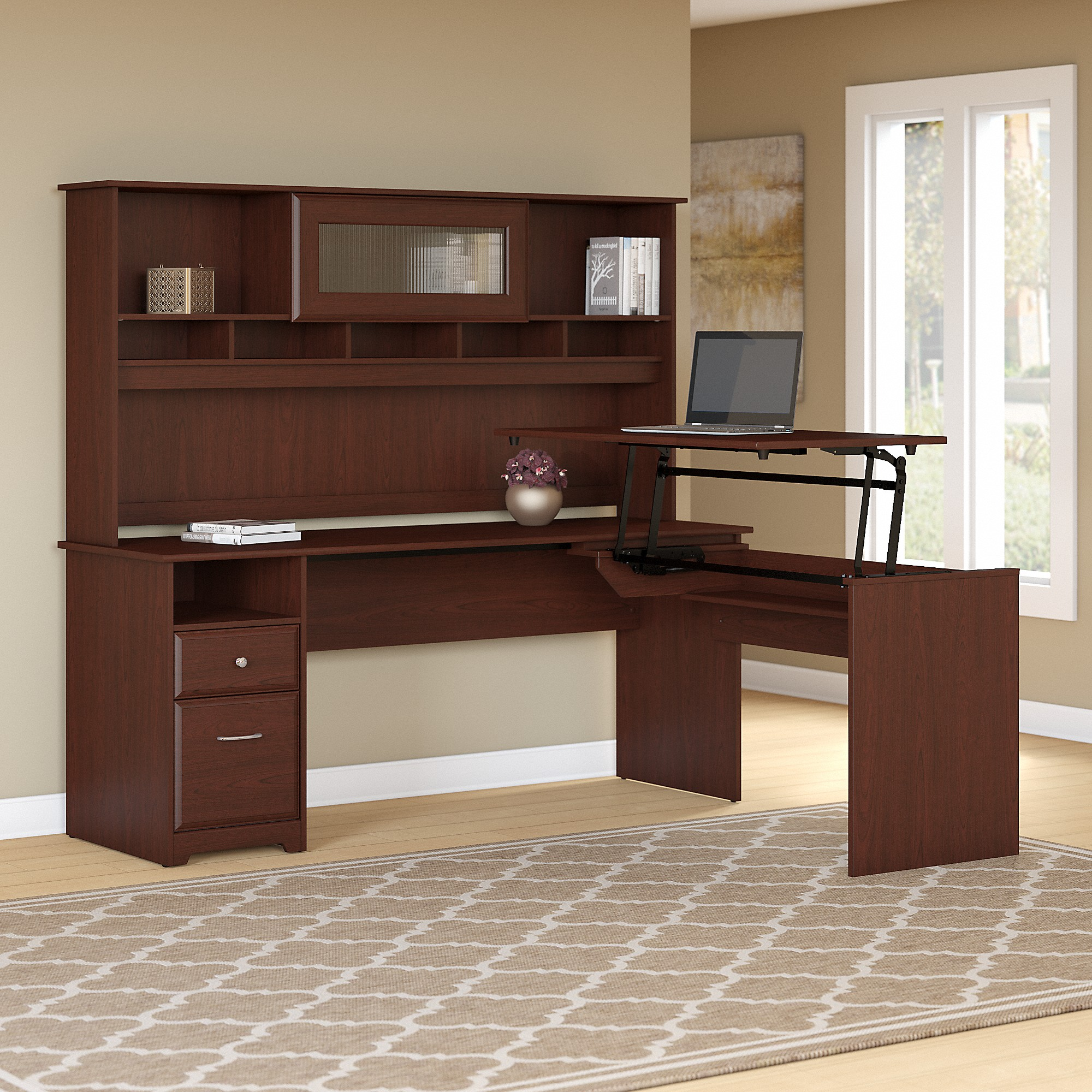 Bush Furniture Cabot 72W 3 Position L Shaped Sit to Stand Desk with Hutch