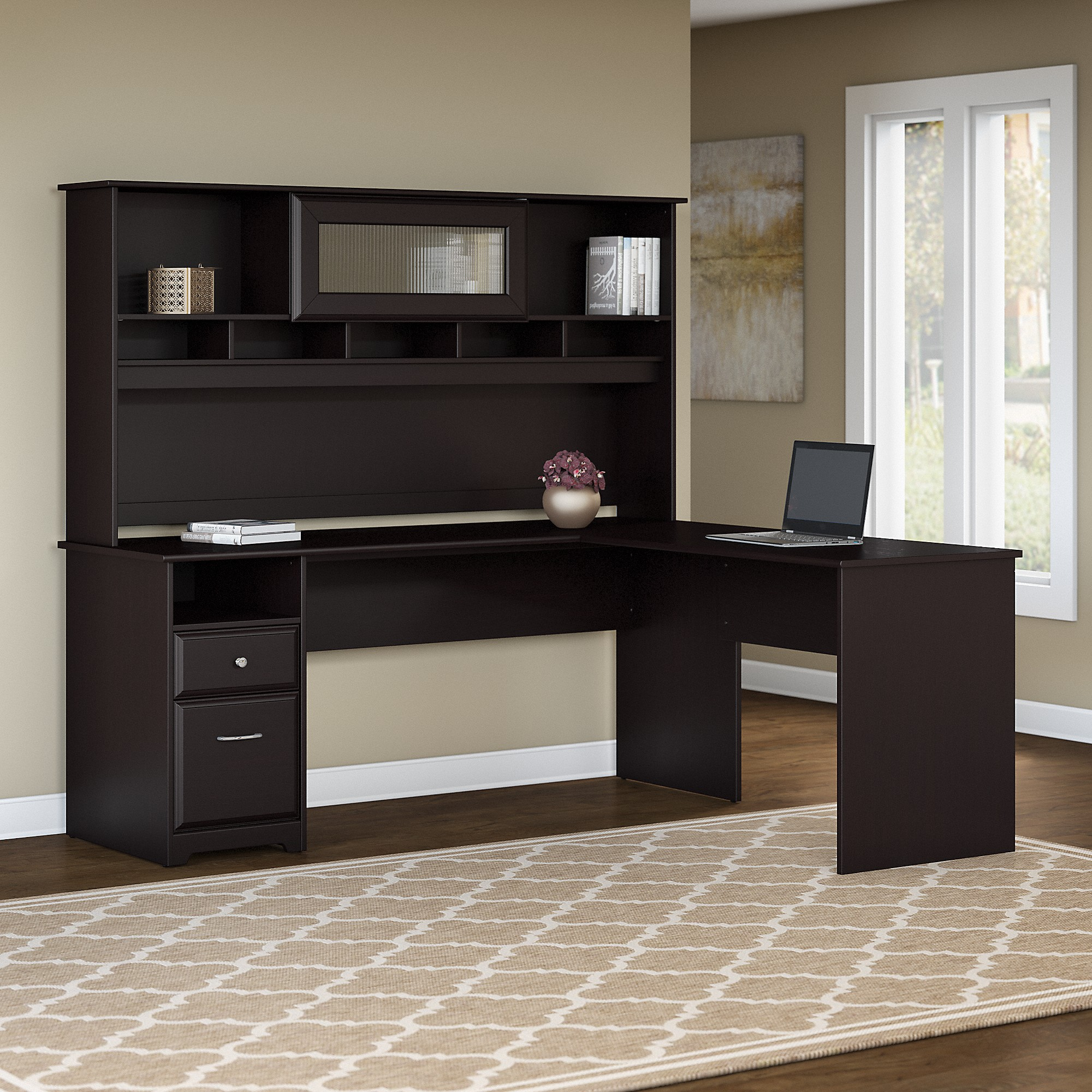 Bush Furniture Cabot 72W L Shaped Computer Desk with Hutch and Drawers