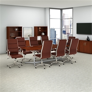 Bush Business Furniture 72W x 36D Boat Shaped Conference Table with Metal Base in Hansen Cherry