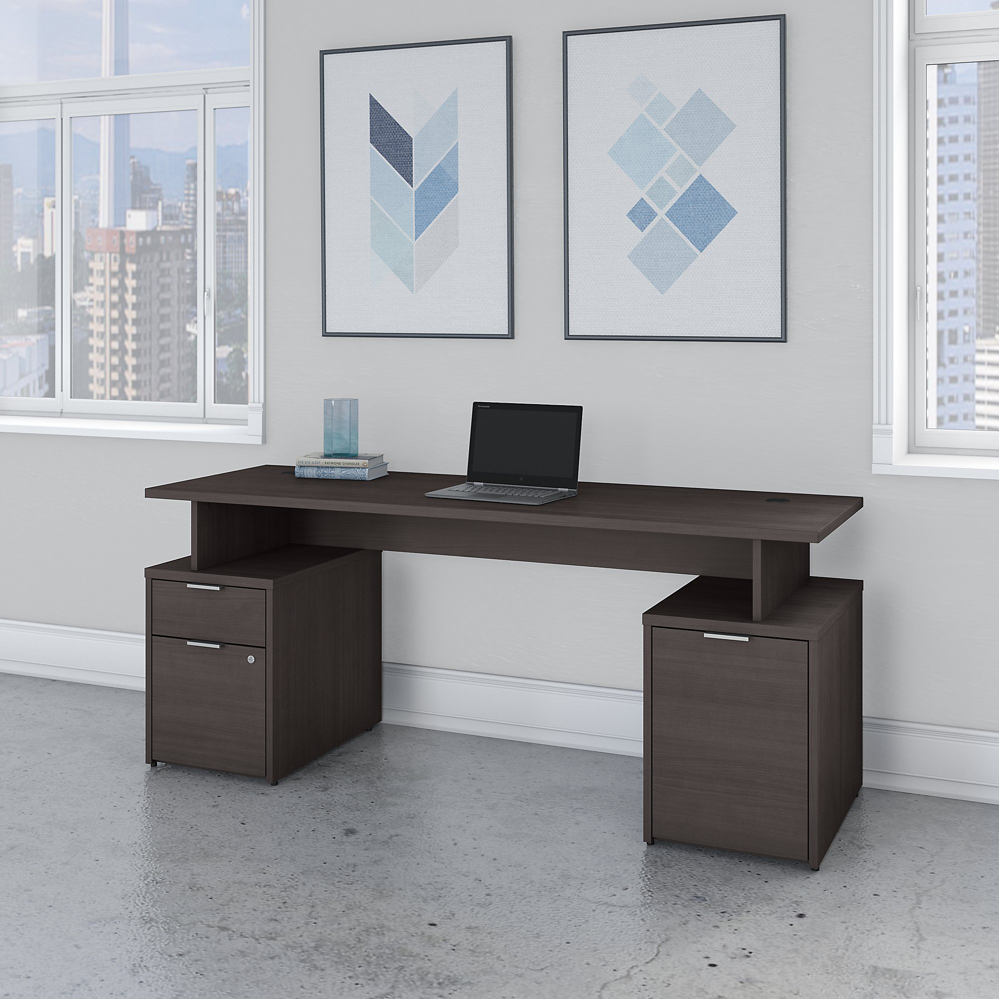 Bush Business Furniture Jamestown 72W Desk with Drawers and Small Storage Cabinet
