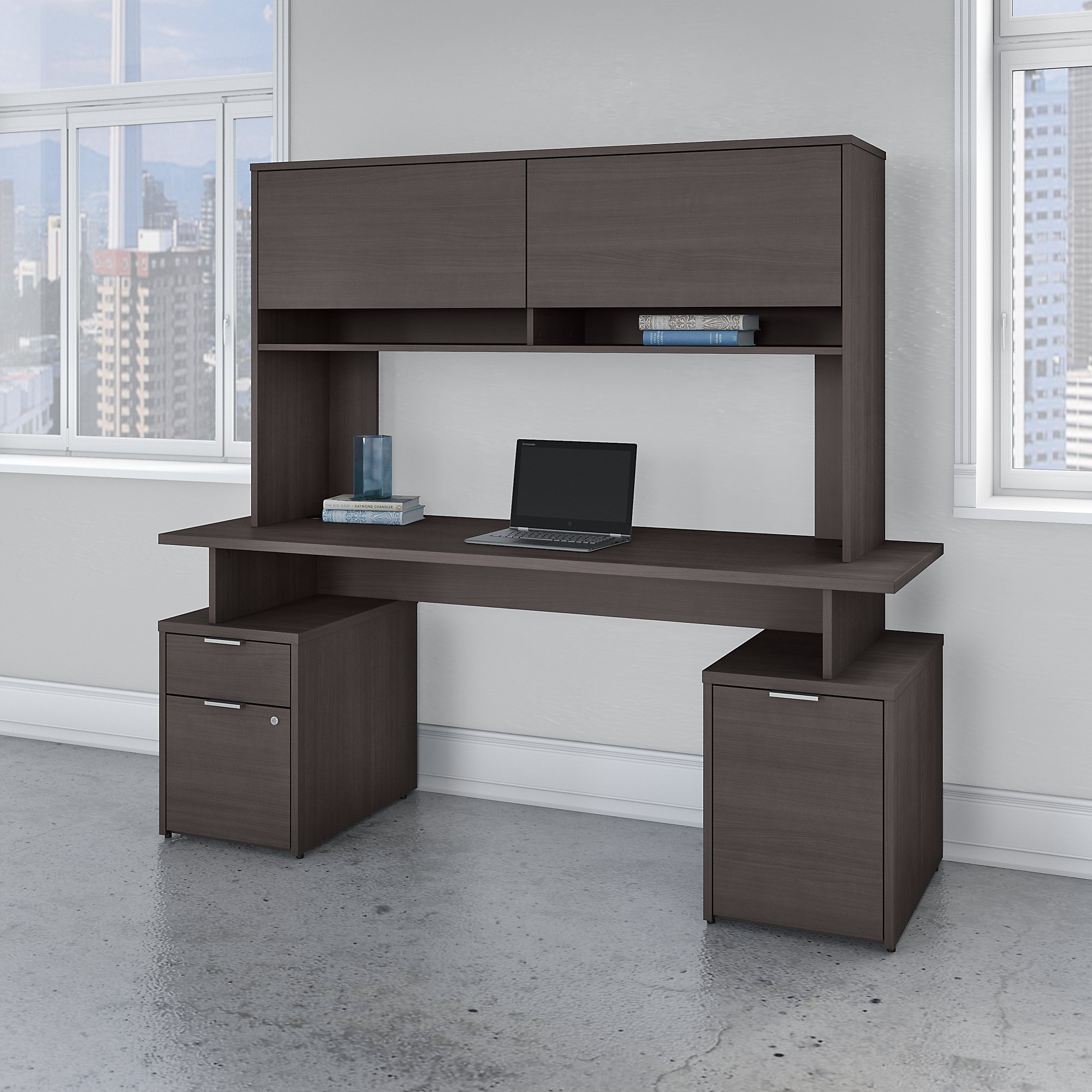 Bush Business Furniture Jamestown 72W Desk with Drawers, Storage Cabinet and Hutch