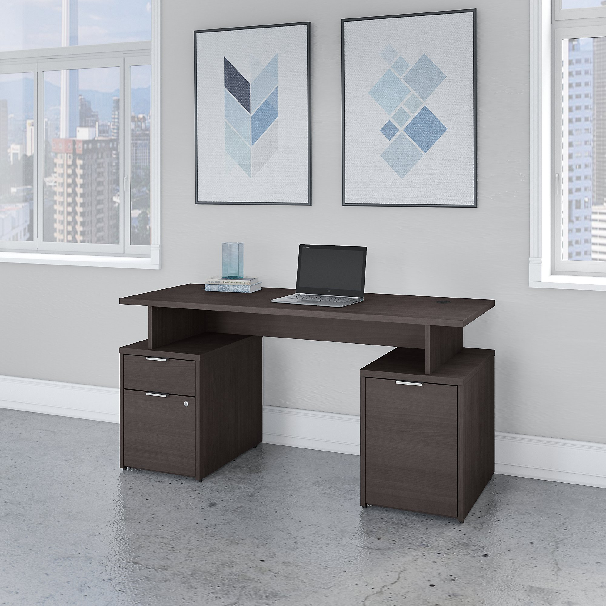 Bush Business Furniture Jamestown 60W Desk with Drawers and Small Storage Cabinet