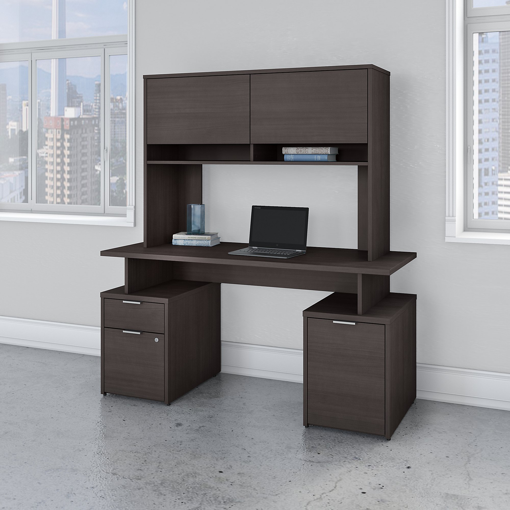 Bush Business Furniture Jamestown 60W Desk with Drawers, Storage Cabinet and Hutch