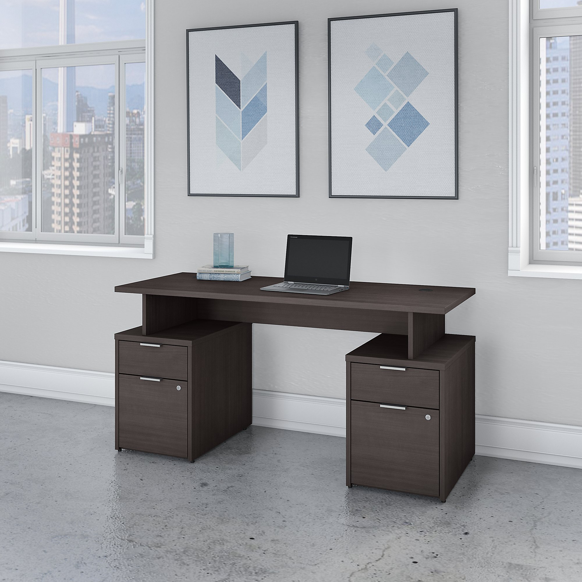 Bush Business Furniture Jamestown 60W Desk with 4 Drawers