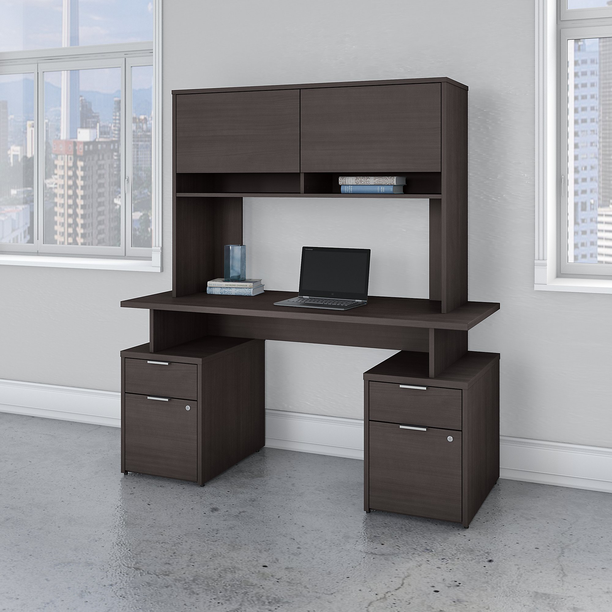 Bush Business Furniture Jamestown 60W Desk with 4 Drawers and Hutch
