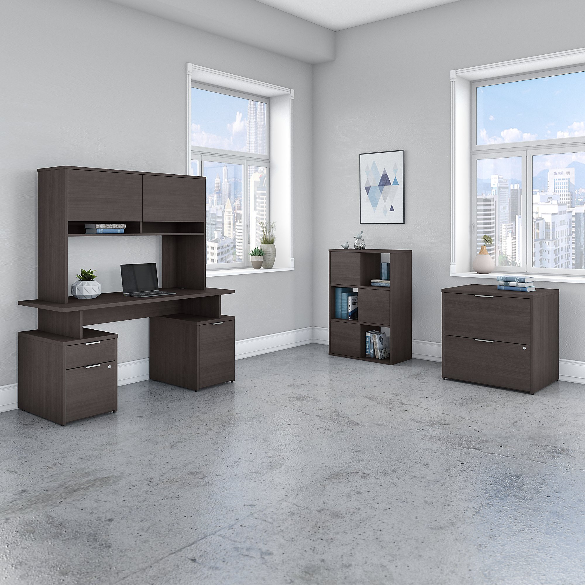 Bush Business Furniture Jamestown 60W Desk with Hutch, File Cabinets and 6 Cube Organizer