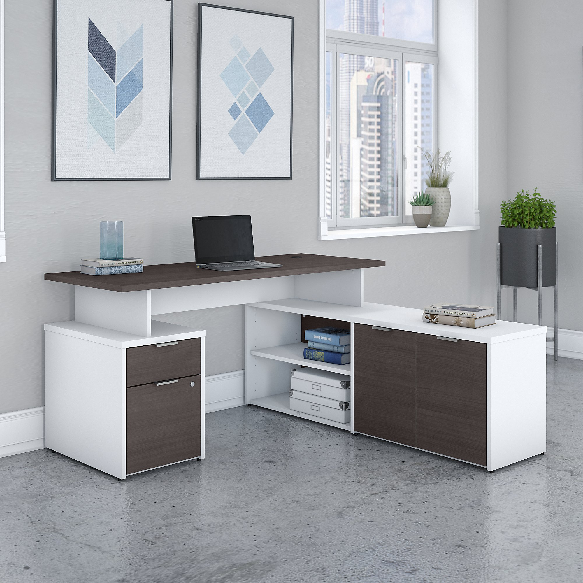 Bush Business Furniture Jamestown 60W L Shaped Desk with Drawers