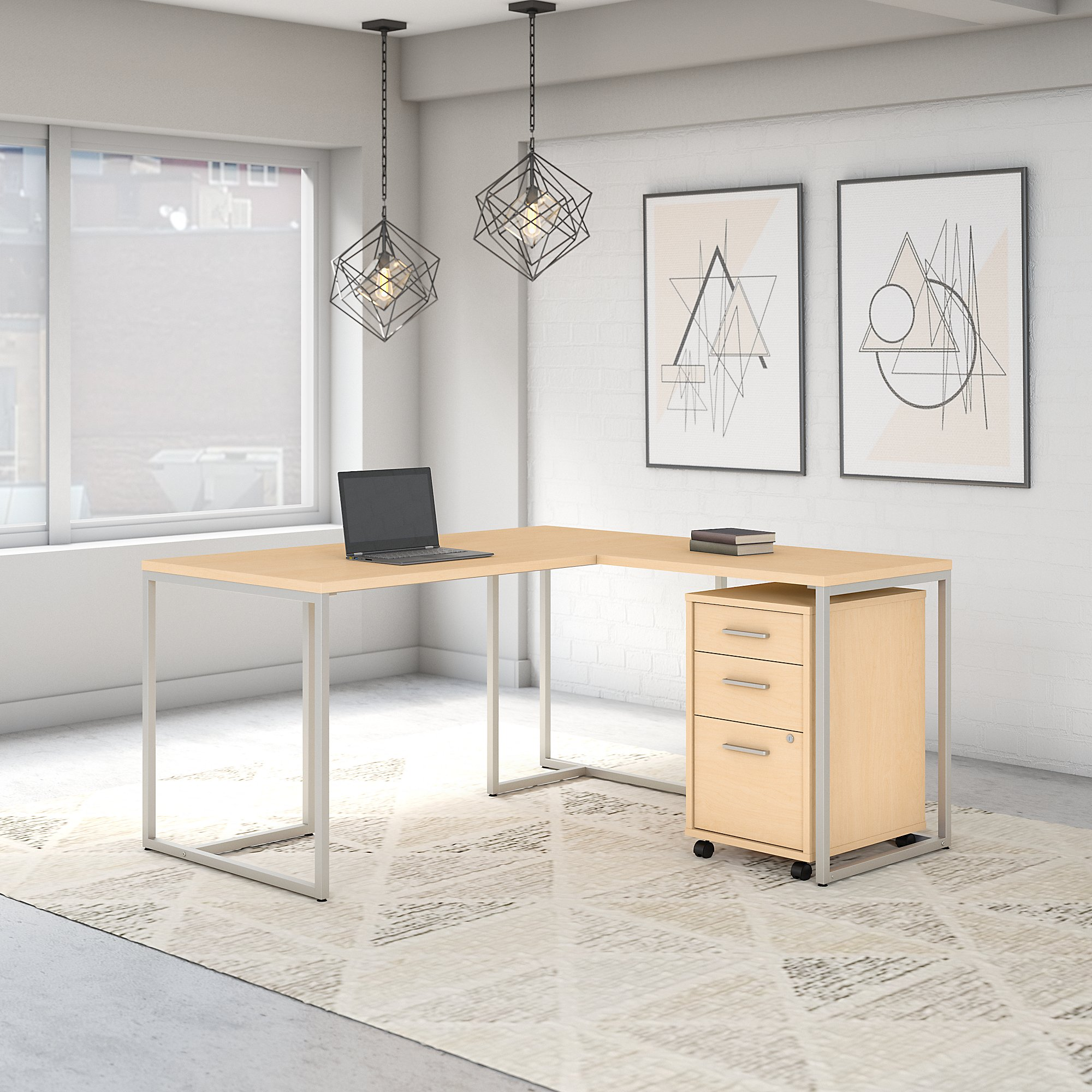 Office by kathy ireland® Method 60W L Shaped Desk with 30W Return and Mobile File Cabinet