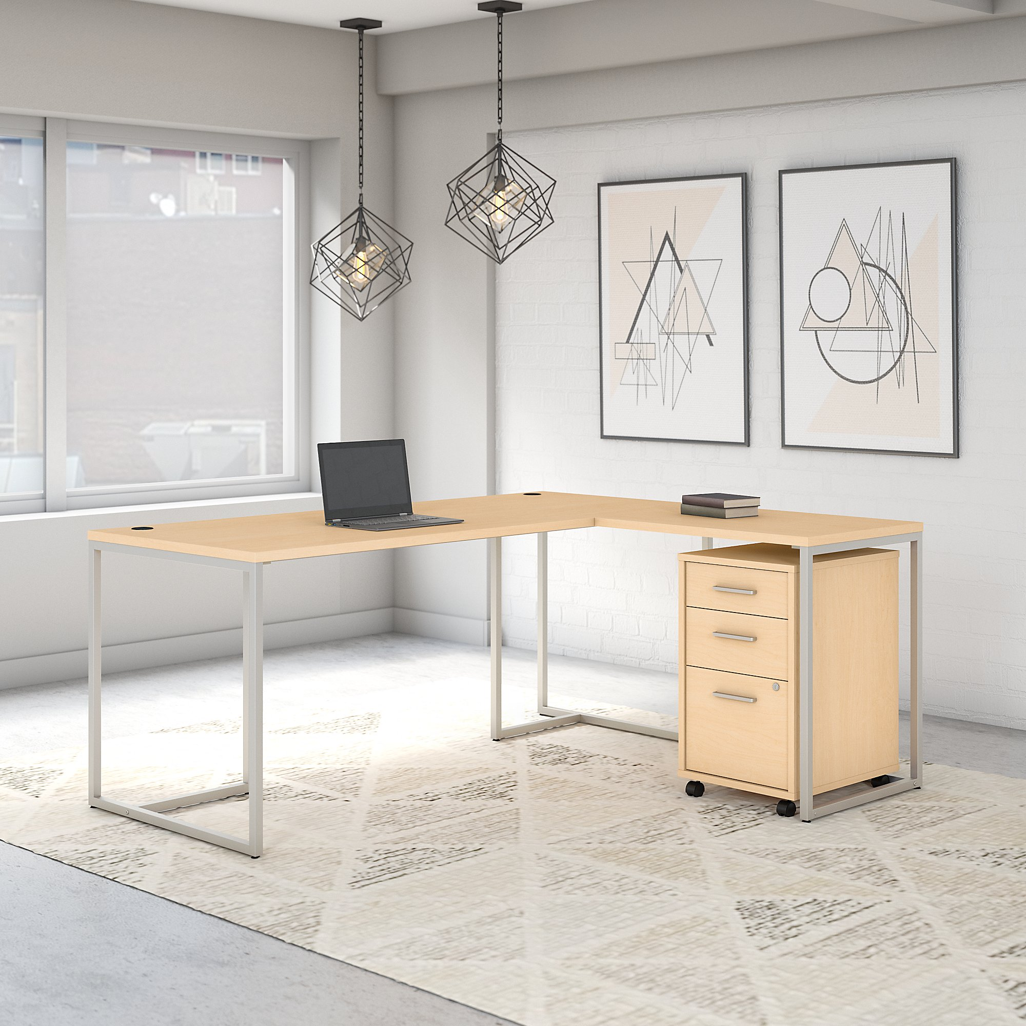 Office by kathy ireland® Method 72W L Shaped Desk with 30W Return and Mobile File Cabinet