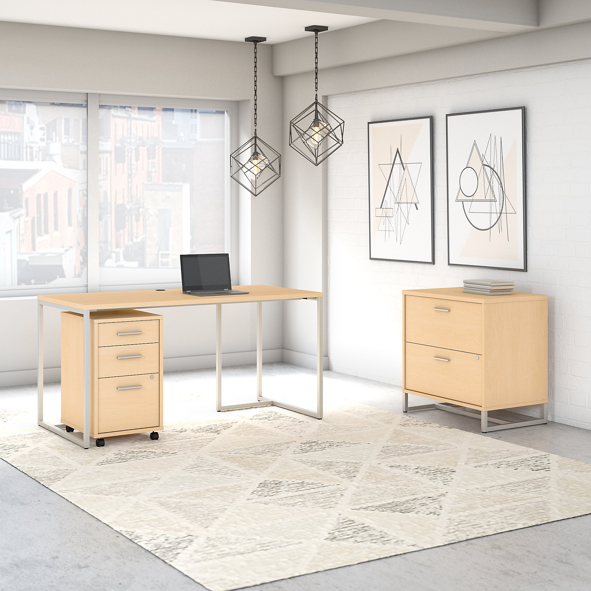 Office by kathy ireland® Method 60W Table Desk with File Cabinets