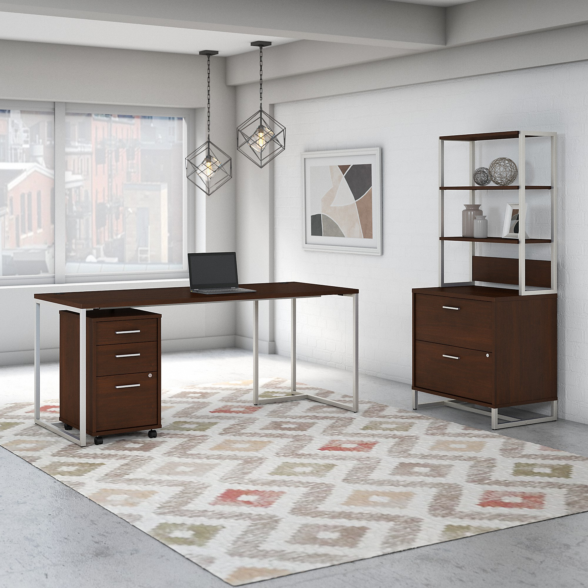 Office by kathy ireland® Method 72W Table Desk with File Cabinets and Hutch