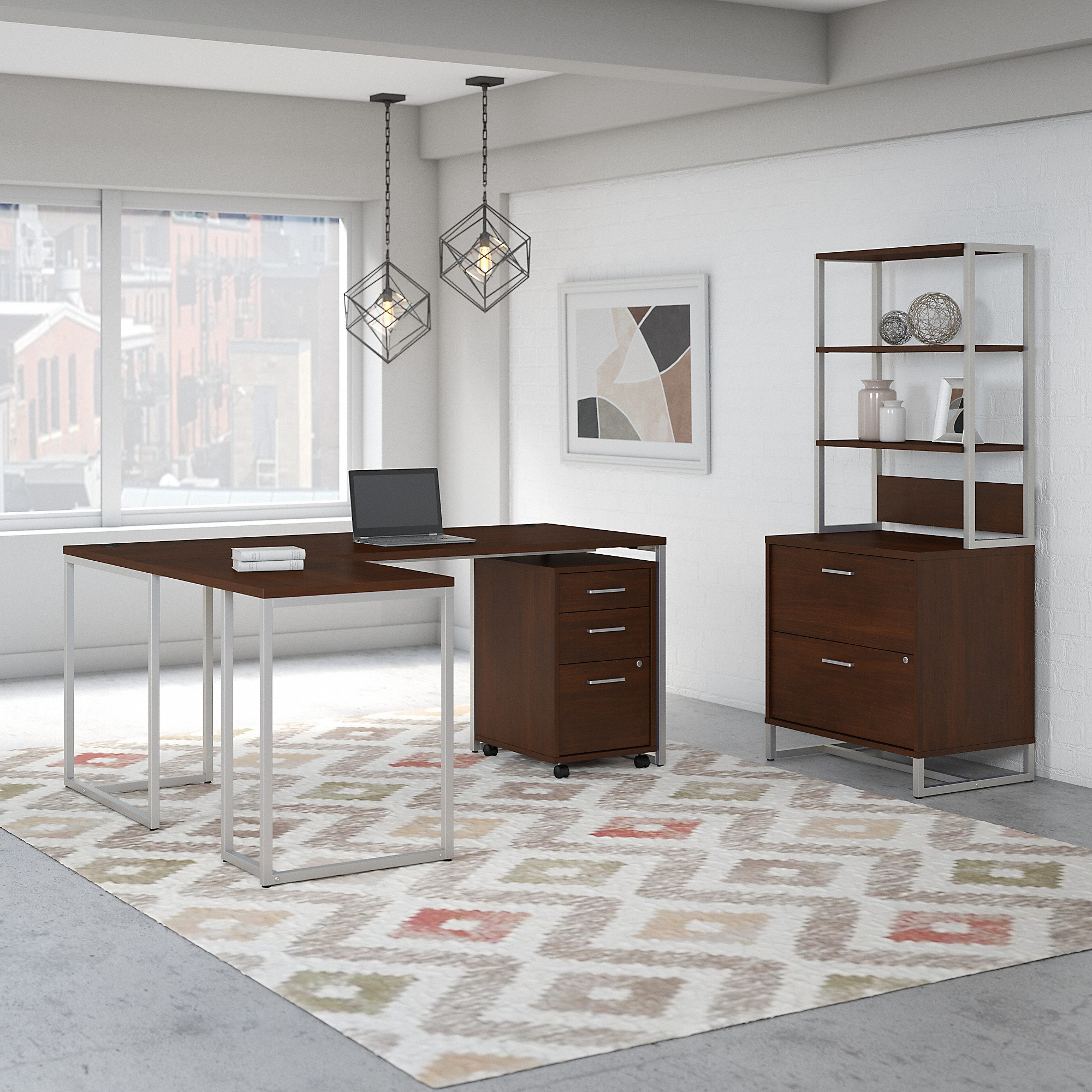 Office by kathy ireland® Method 72W L Shaped Desk with 30W Return, File Cabinets and Hutch