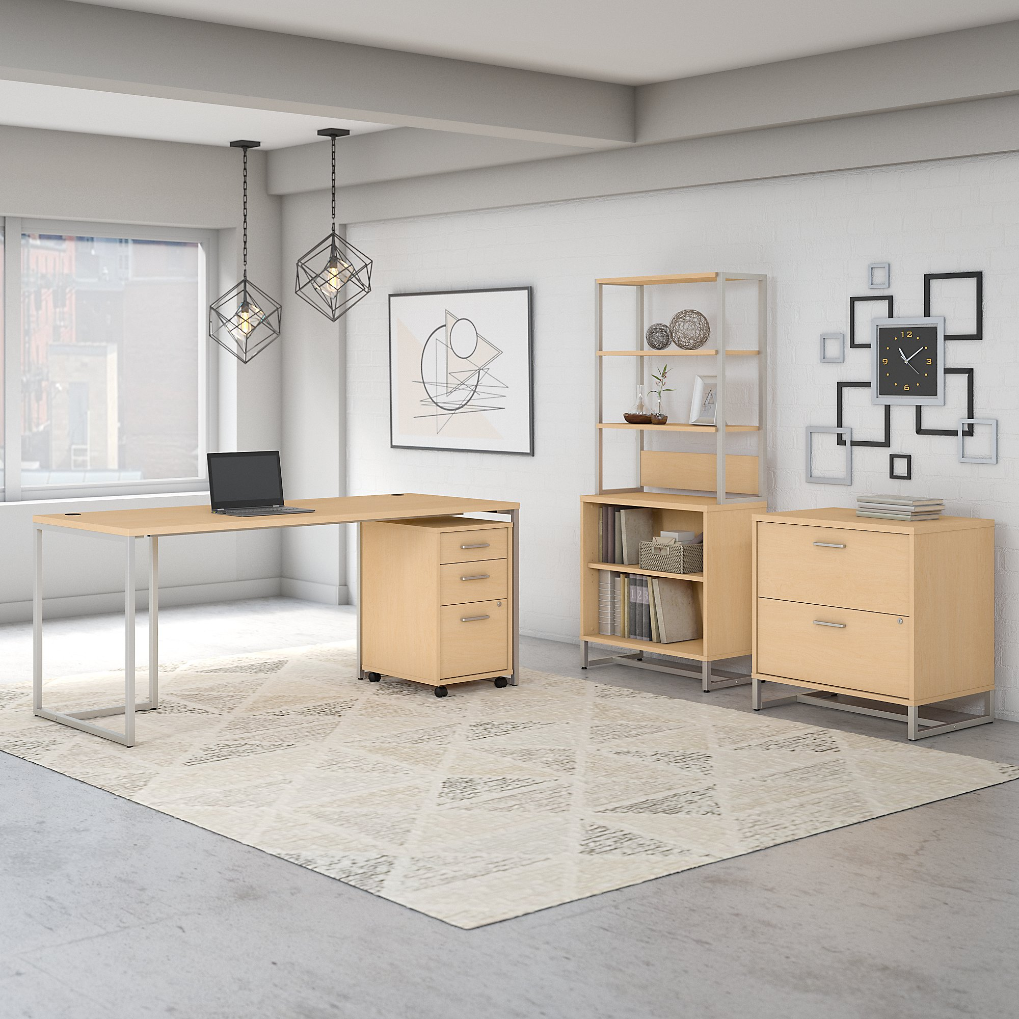 Office by kathy ireland® Method 72W Table Desk with File Cabinets and Bookcase
