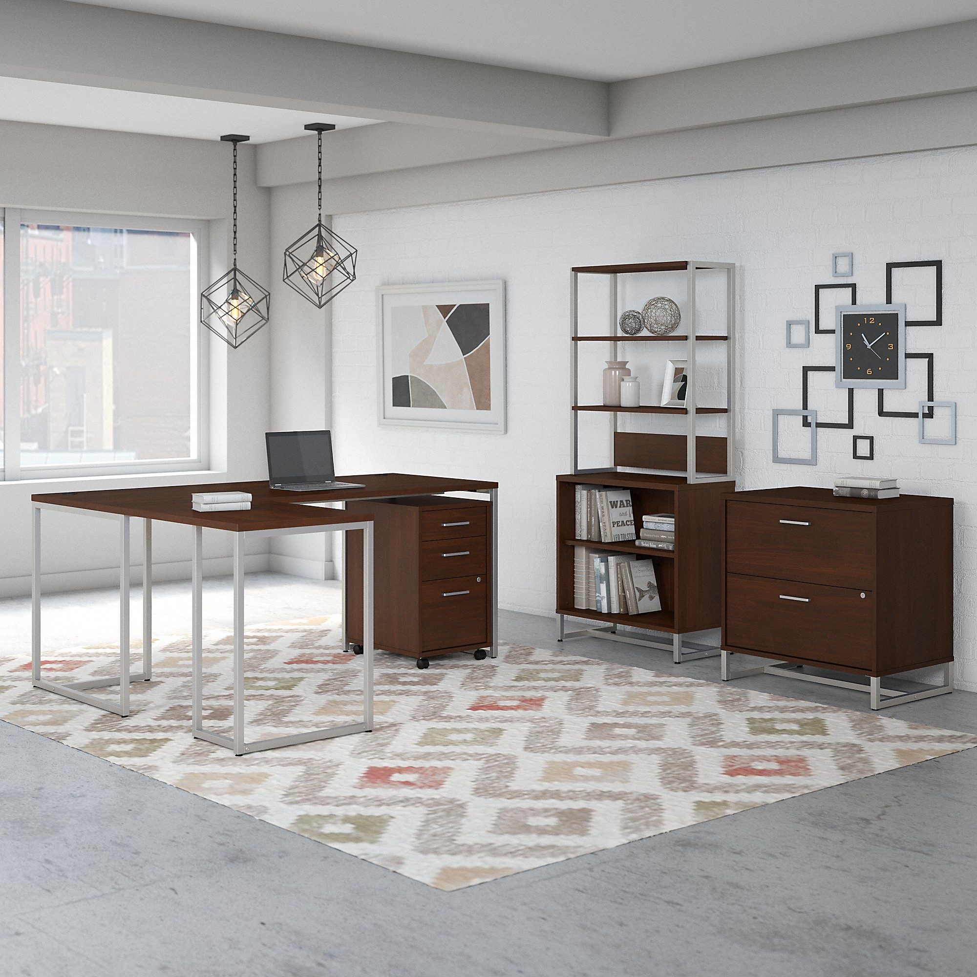 Office by kathy ireland® Method 72W L Shaped Desk with 30W Return, File Cabinets and Bookcase