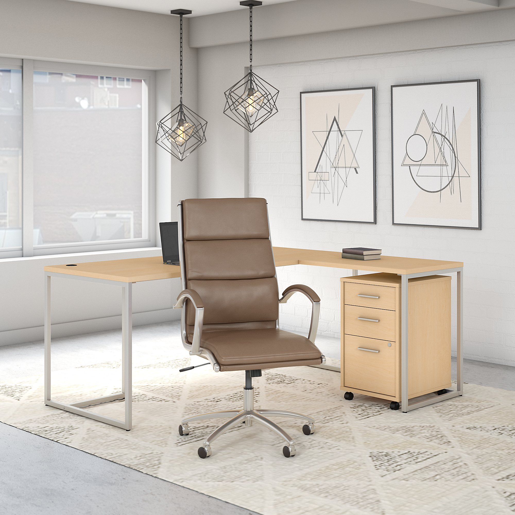Office by kathy ireland® Method 72W L Shaped Desk with Chair and Mobile File Cabinet