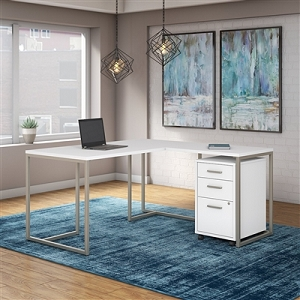 Office by kathy ireland Method 60W L Shaped Desk with 30W Return and Mobile File Cabinet #MTH005WHSU