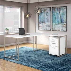 Office by kathy ireland Method 72W L Shaped Desk with 30W Return and Mobile File Cabinet #MTH018WHSU
