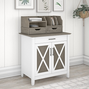 Bush Furniture Key West Secretary Desk with Storage and Desktop Organizers