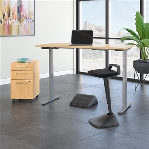 Move 60 Series by Bush Business Furniture 60W x 30D Adjustable Standing Desk with Lean Stool, Storage and Ergonomic Accessories #M6S015ACSU