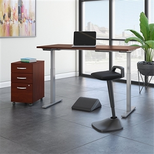 Move 60 Series by Bush Business Furniture 60W x 30D Adjustable Standing Desk with Lean Stool, Storage and Ergonomic Accessories #M6S015HCSU