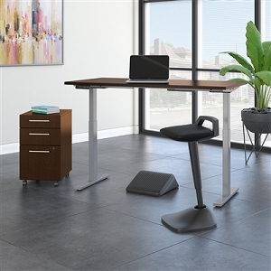 Move 60 Series by Bush Business Furniture 60W x 30D Adjustable Standing Desk with Lean Stool, Storage and Ergonomic Accessories #M6S015MRSU