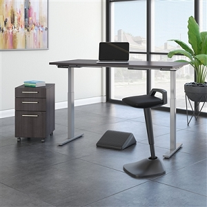 Move 60 Series by Bush Business Furniture 60W x 30D Adjustable Standing Desk with Lean Stool, Storage and Ergonomic Accessories #M6S015SGSU