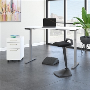 Move 60 Series by Bush Business Furniture 60W x 30D Adjustable Standing Desk with Lean Stool, Storage and Ergonomic Accessories #M6S015WHSU