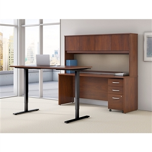 Bush Business Furniture Series C Elite 72W Height Adjustable Standing Desk with Credenza, Hutch and Storage #SRE230HCSU