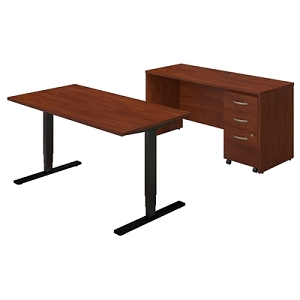 Bush Business Furniture 60W Height Adjustable Standing Desk with Credenza and Storage #SRE236HCSU