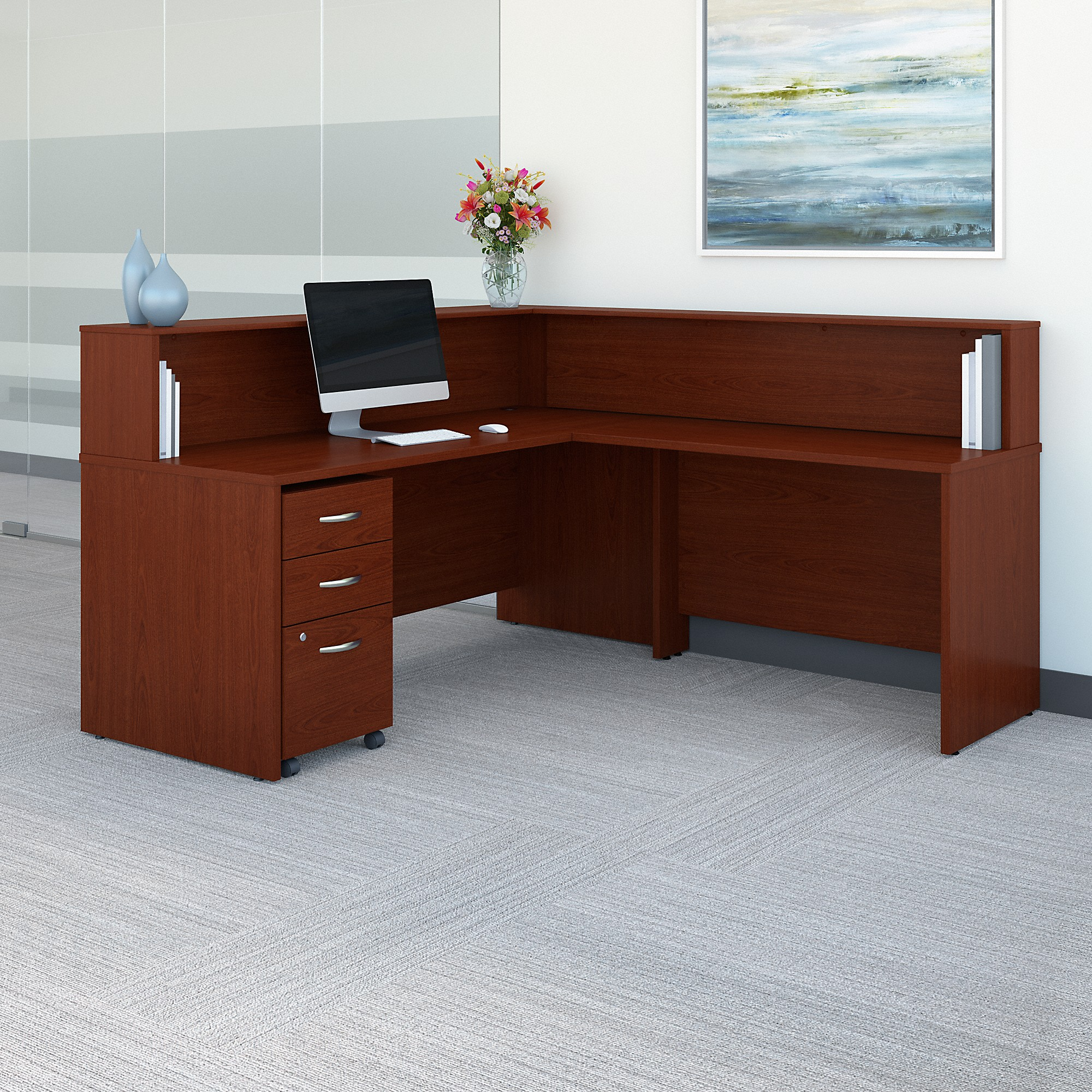 Bush Business Furniture Series C L Shaped Reception Desk with Mobile File Cabinet