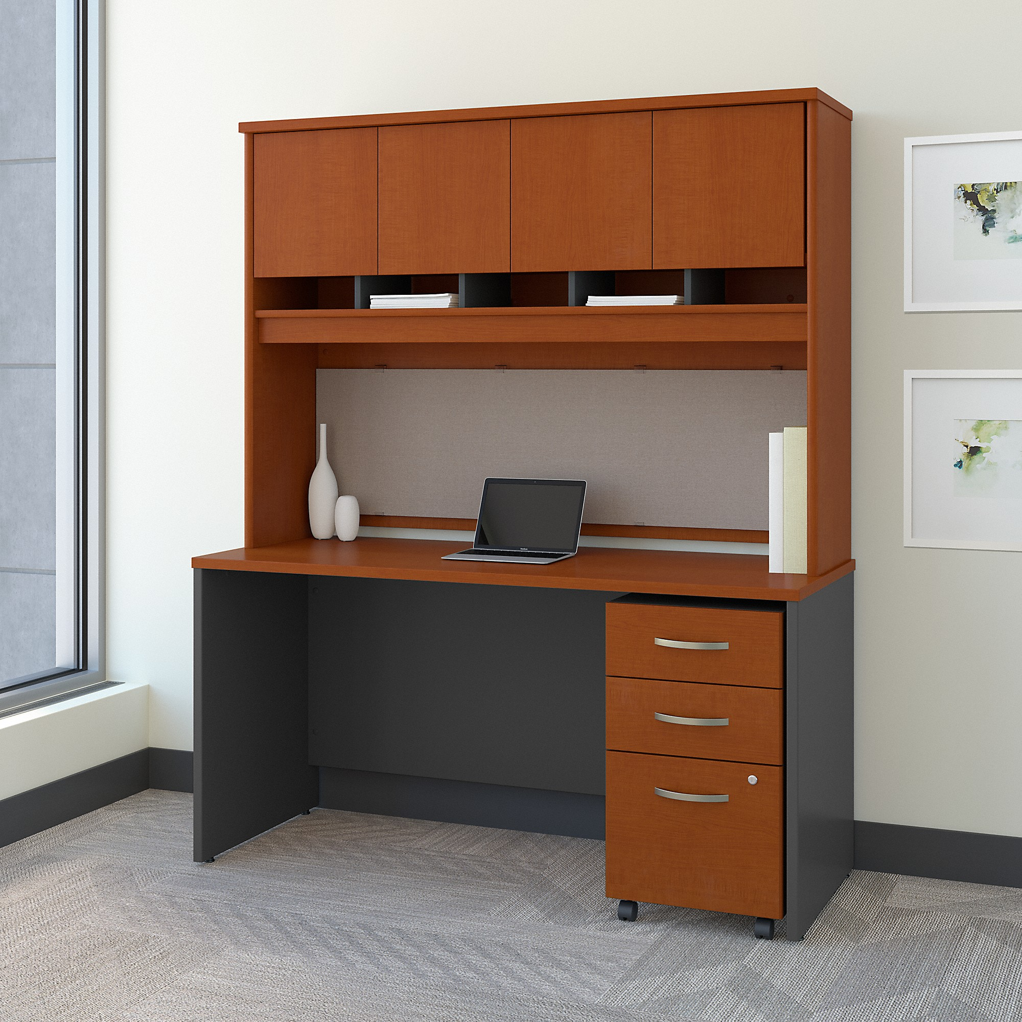Bush Business Furniture Series C 60W x 24D Office Desk with Hutch and Mobile File Cabinet