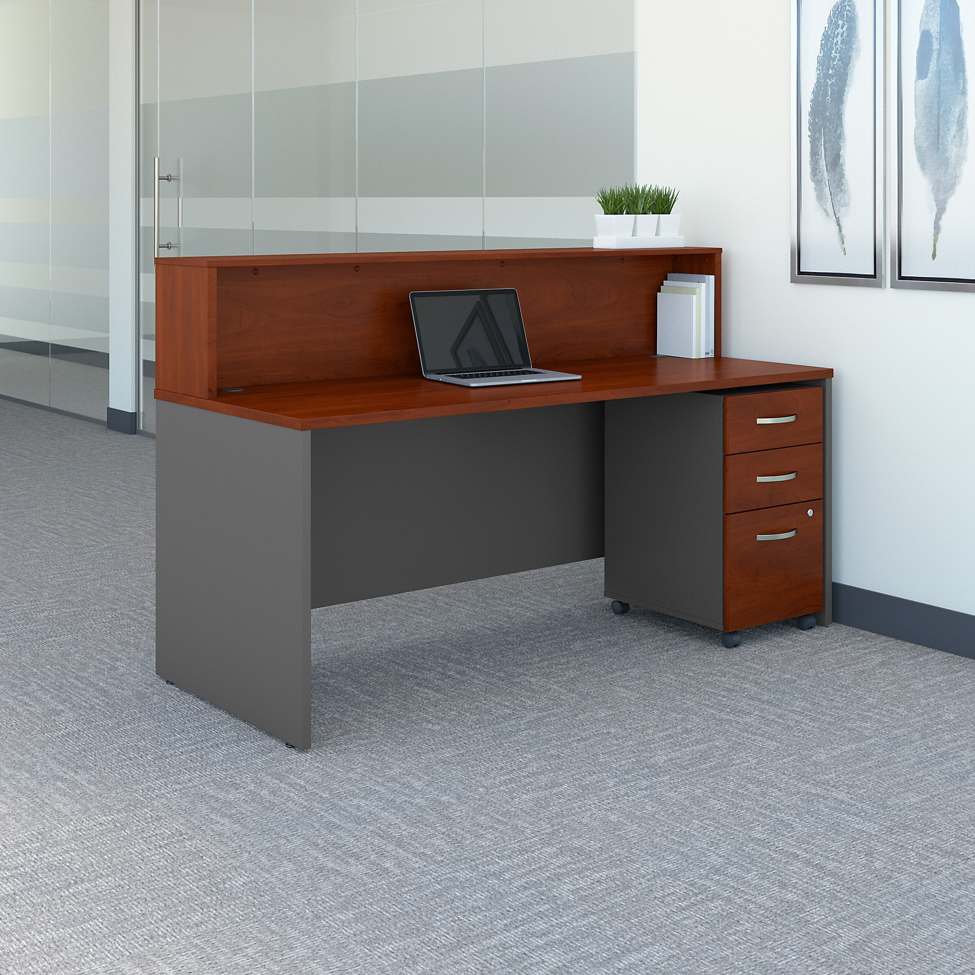 Bush Business Furniture Series C 72W x 30D Reception Desk with Mobile File Cabinet