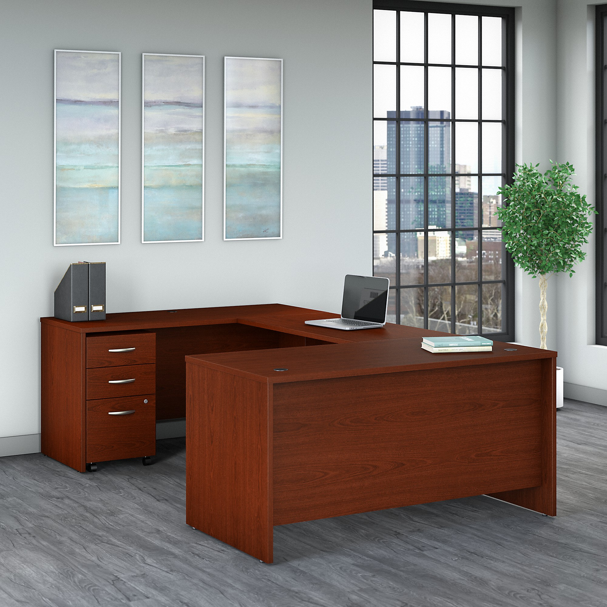 Bush Business Furniture Series C 60W U Shaped Desk with 3 Drawer Mobile File Cabinet