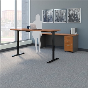 Bush Business Furniture Series C 72W Height Adjustable Standing Desk, Credenza and Storage SRC104NCSU