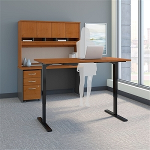 Bush Business Furniture Series C 60W Height Adjustable Standing Desk, Credenza, Hutch and Storage SRC107NCSU