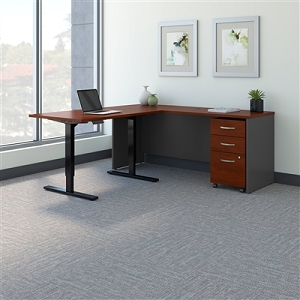 Bush Business Furniture Series C 72W L Shaped Desk with 48W Height Adjustable Return and Storage SRC108HCSU