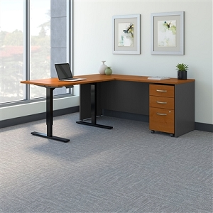 Bush Business Furniture Series C 72W L Shaped Desk with 48W Height Adjustable Return and Storage SRC108NCSU