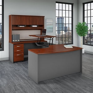 Bush Business Furniture Series C 60W x 43D Left Hand 3 Position Sit to Stand U Shaped Desk with Hutch and Mobile File Cabinet #SRC120HCSU