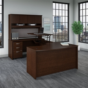 Bush Business Furniture Series C 60W x 43D Left Hand 3 Position Sit to Stand U Shaped Desk with Hutch and Mobile File Cabinet #SRC120MRSU