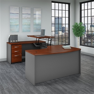 Bush Business Furniture Series C 60W x 43D Left Hand 3 Position Sit to Stand U Shaped Desk with Mobile File Cabinet #SRC121HCSU