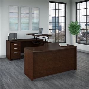 Bush Business Furniture Series C 60W x 43D Left Hand 3 Position Sit to Stand U Shaped Desk with Mobile File Cabinet #SRC121MRSU