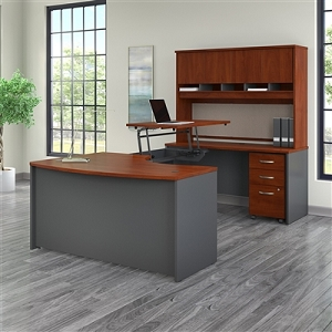 Bush Business Furniture Series C 60W x 43D Right Hand 3 Position Sit to Stand U Shaped Desk with Hutch and Mobile File Cabinet #SRC122HCSU