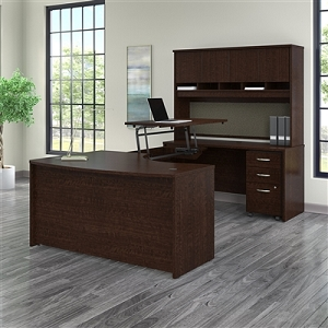 Bush Business Furniture Series C 60W x 43D Right Hand 3 Position Sit to Stand U Shaped Desk with Hutch and Mobile File Cabinet #SRC122MRSU
