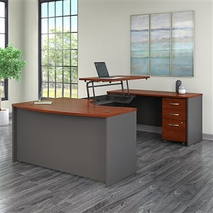 Bush Business Furniture Series C 60W x 43D Right Hand 3 Position Sit to Stand U Shaped Desk with Mobile File Cabinet #SRC123HCSU