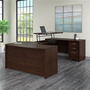 Bush Business Furniture Series C 60W x 43D Right Hand 3 Position Sit to Stand U Shaped Desk with Mobile File Cabinet #SRC123MRSU