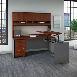 Bush Business Furniture Series C 72W x 30D 3 Position Sit to Stand L Shaped Desk with Hutch and Mobile File Cabinet #SRC124HCSU
