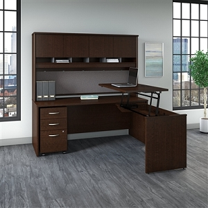 Bush Business Furniture Series C 72W x 30D 3 Position Sit to Stand L Shaped Desk with Hutch and Mobile File Cabinet #SRC124MRSU