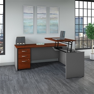 Bush Business Furniture Series C 72W x 30D 3 Position Sit to Stand L Shaped Desk with Mobile File Cabinet #SRC125HCSU