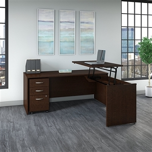 Bush Business Furniture Series C 72W x 30D 3 Position Sit to Stand L Shaped Desk with Mobile File Cabinet #SRC125MRSU